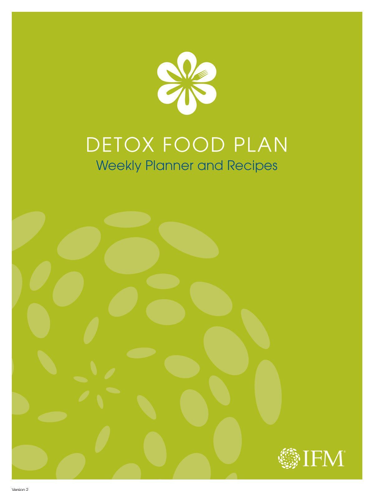 Detox Food Plan Weekly Planner