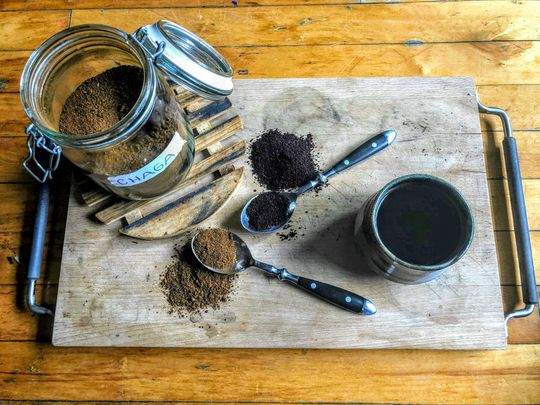 Chaga coffee set up