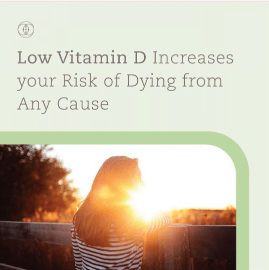 Low Vitamin D increases your risk of dying from any cause